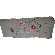 Lovely Art Nouveau Embroidered Runner with Butterfly, Roses, Pillow,  Panel