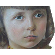 Lovely Antique Pastel Portrait of a Little Girl with Gold Necklace