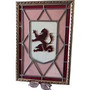 Antique English Rampant Lion Stained Glass Window, Architectural Glass