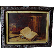Antique 19thC English Oil Painting of a Journal Book & Eyeglasses