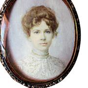 Antique Miniature Painting of a Beautiful Lady in a Lace Dress