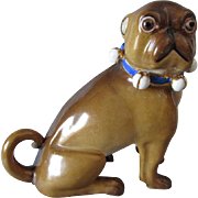 Fine Mid 1800s Porcelain Pug Dog, Fischer & Mieg, Germany