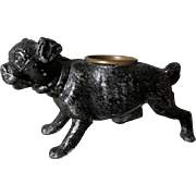 Antique Pug Dog Match Safe, Toothpick Holder