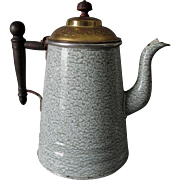 Rare Antique Agateware Graniteware Coffee Pot, Green with Brass Lid