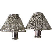 Antique Filigree Candle Shades with Brackets, Victorian, Edwardian