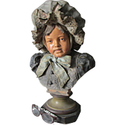Lovely Antique 19thC European Terra Cotta Bust of a Little Girl