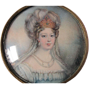 Hand Painted Miniature Painting of a Lady with Jeweled Crown