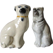 2 Antique Staffordshire, England Pug Dog Figurines
