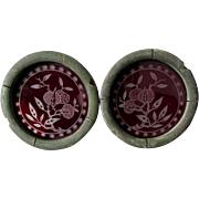 Pair 19thC Aesthetic Movement Stained Glass Panels with Pomegranates