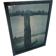 c1923 James Whistler Print, Nocturne, Blue and Gold, Old Battersea Bridge
