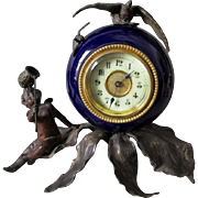Antique French Clock with Cherub Angel, Bee & a Bird