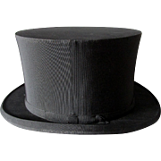 Antique c1900s Gentleman's Folding Top Hat, Millinery, Victorian Fashion