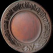 Antique German Hand Carved Bread Plate, Black Forest