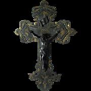 Lovely Antique Christian Crucifix, Cross, Engraved Brass Gunmetal Finish