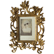 Lovely Antique Gilded Picture Frame with Chrysanthemum Flowers