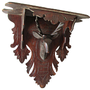 Large Antique Hand Carved Clock Shelf with Stag Deer Head
