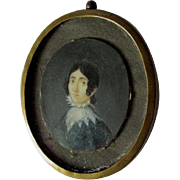 Antique Early 1800s Miniature Painting of a Boy with Curly Hair