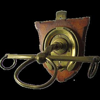 Antique Horse Crop Holder, Brass Hooks for Horse Tack