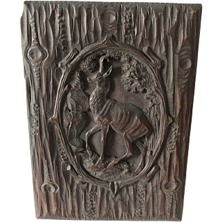 Antique Hand Carved German, Black Forest Panel with Ibex, Buck