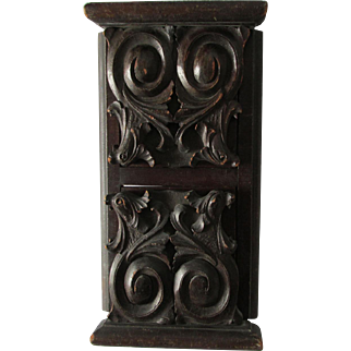 Antique Hand Carved Wood Slide Bookends with Gargoyles, Lions