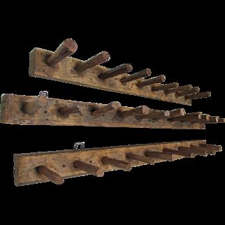 3 Rustic Antique Primitive Wood Hooks, Tobacco Drying Racks