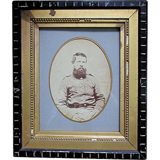 Antique Civil War Soldier Photograph in Eastlake Picture Frame