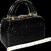 1950's Dorian Continental Wicker Box Bag from Italy