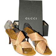 Vintage Gucci Silk Open Sandals from Italy Size 8-B