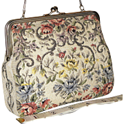 Vintage 1950's Petit Point Floral Evening Bag from West Germany