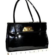 1940's Kelly Satchel in Black Patent Leather by Classy