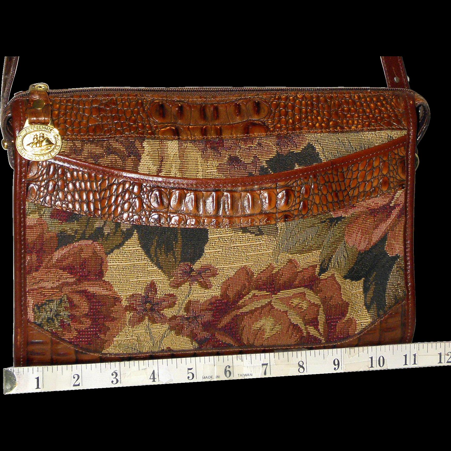 "Vintage Brahmin ""Melbourne Pecan"" Tapestry Satchel U.S. Original"