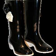 Vintage Chanel Camellia Flower Rain Boots