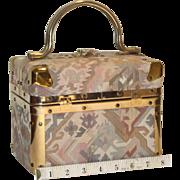 1950's DeLill Tapestry Needlepoint Train Box Handbag from Italy