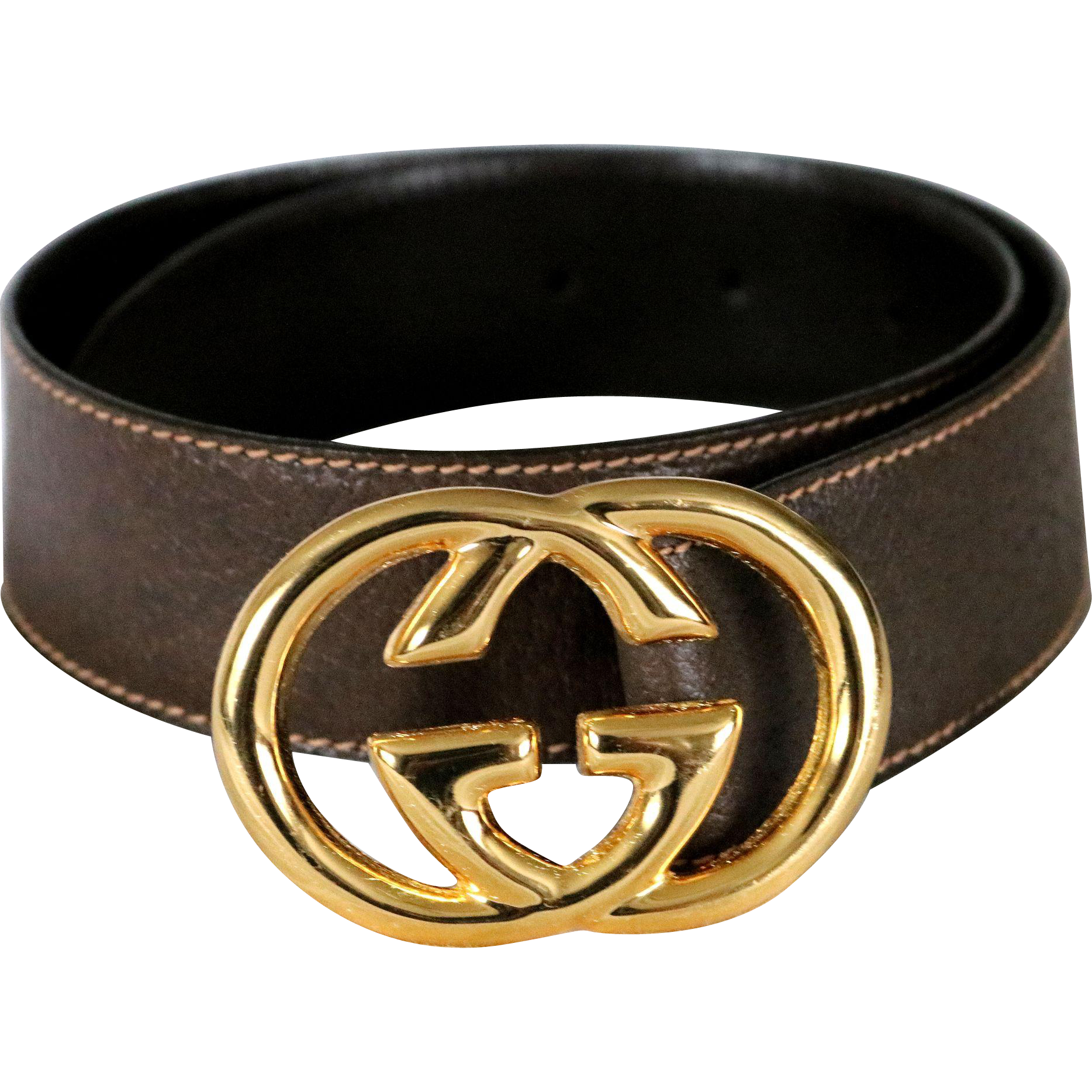 Vintage Gucci Ladies Cross G Leather Belt from Italy