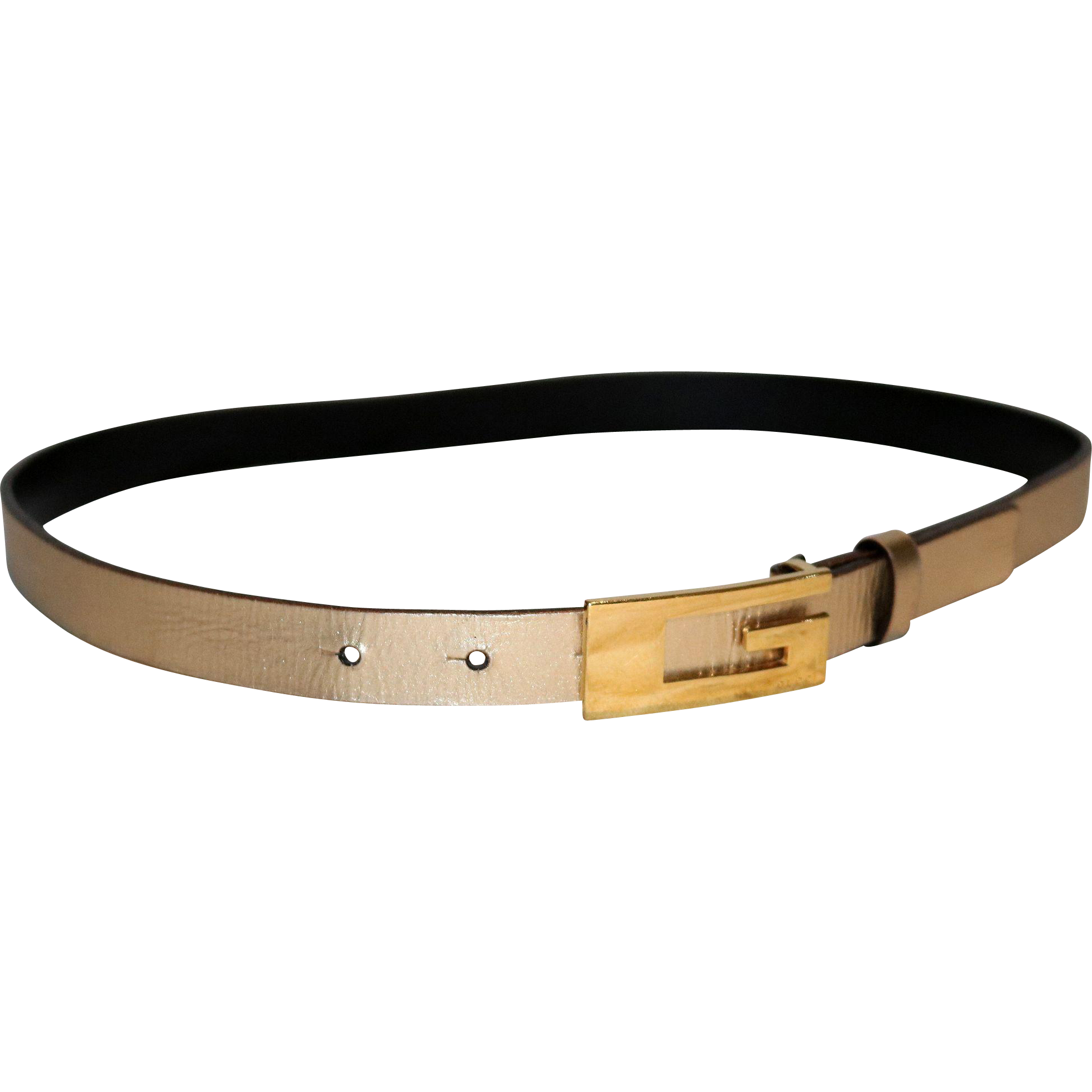 "Vintage Gucci ""G"" Golden Leather Belt from Italy"