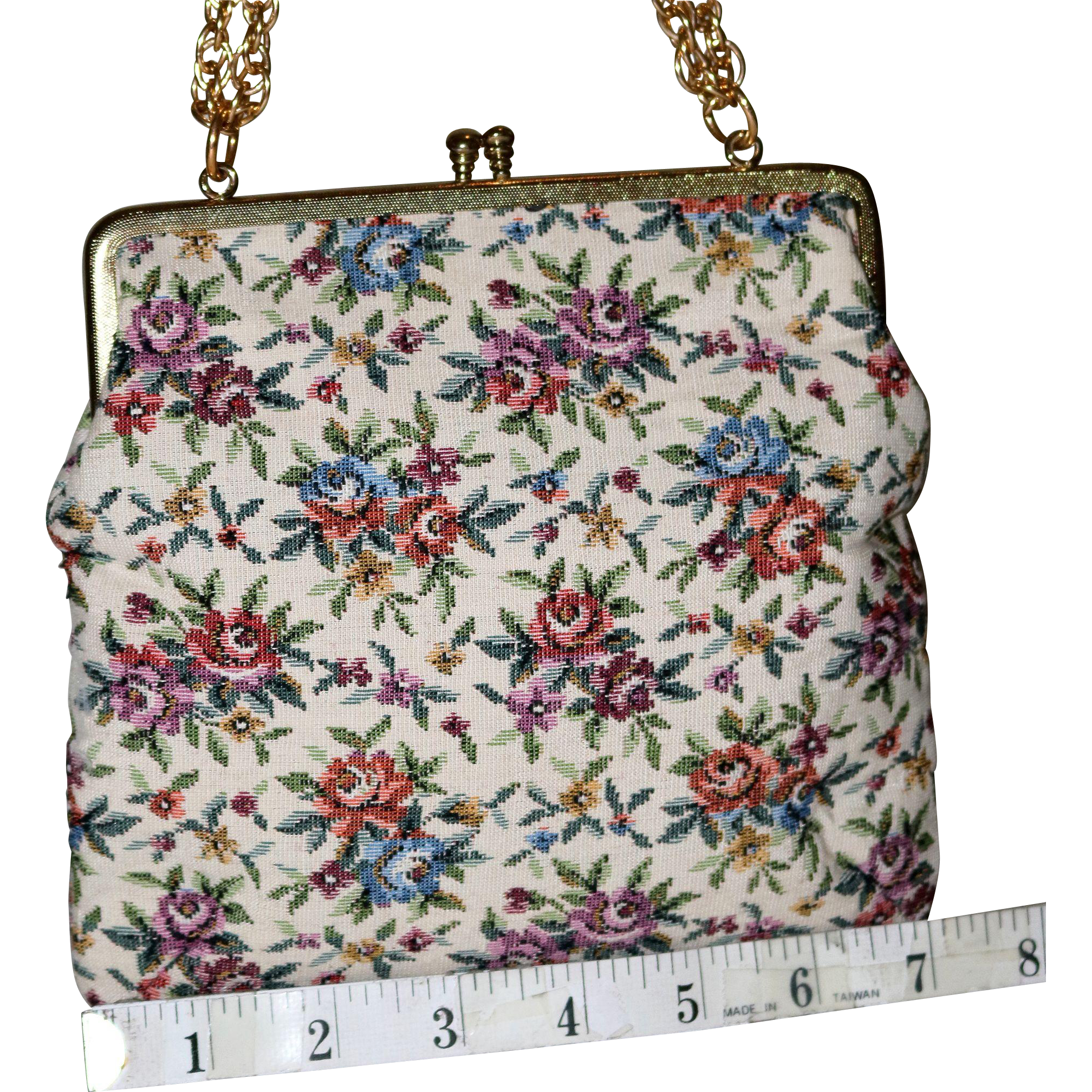 1950's Floral Petite-Point Evening Bag  20% OFF