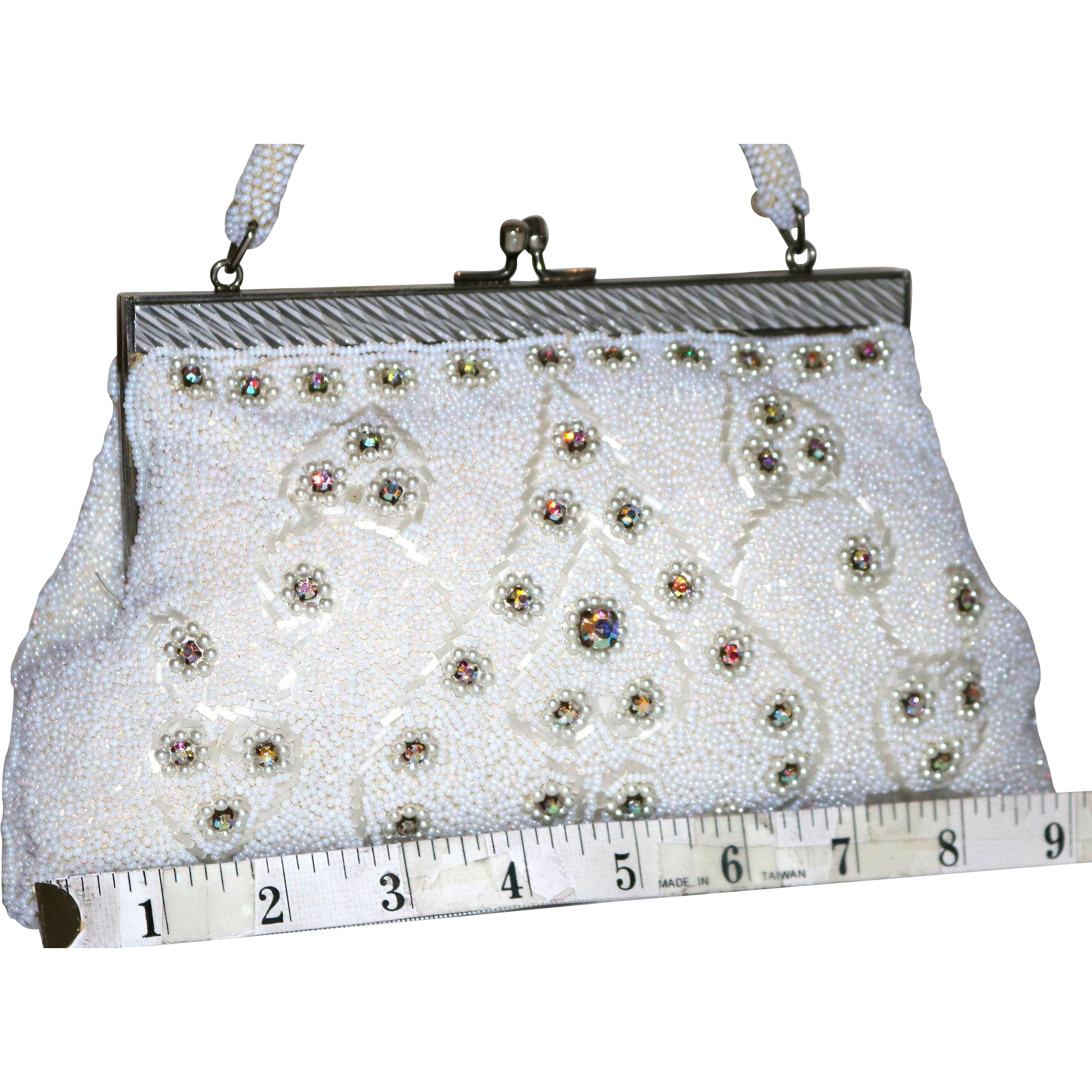 Vintage Beaded Rhinestone Evening Bag
