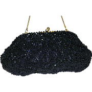 1950's Richeré by Walborg Framed Black Beaded Sequined Evening Bag