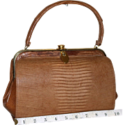 1950's Bellestone Golden Monitor Lizard Satchel