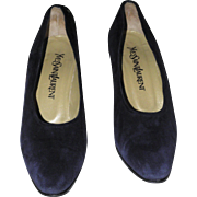 Yves Saint Laurent Royal Blue Calfskin Suede Pumps SZ 7.5 M