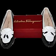 "Salvatore Ferragamo ""Vara"" Flats Size 8.AAAA in Genuine Black Patent Leather and White Calfskin"