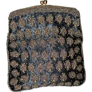 1950's Beaded on Silk Foldover Clutch