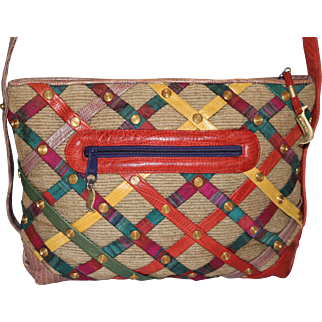 Vintage Sharif Reptile Skin Mexican Strip Satchel