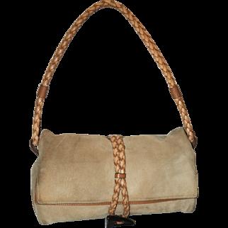 Vintage Burberry Suede Haymarket Check Foldover Handbag