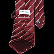 Giorgio Armani Burgundy Cross Patterned Stripe Tie from Italy