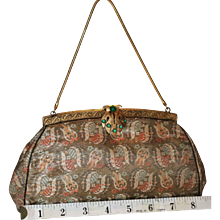 Vintage French Micro Tapestry Evening Bag