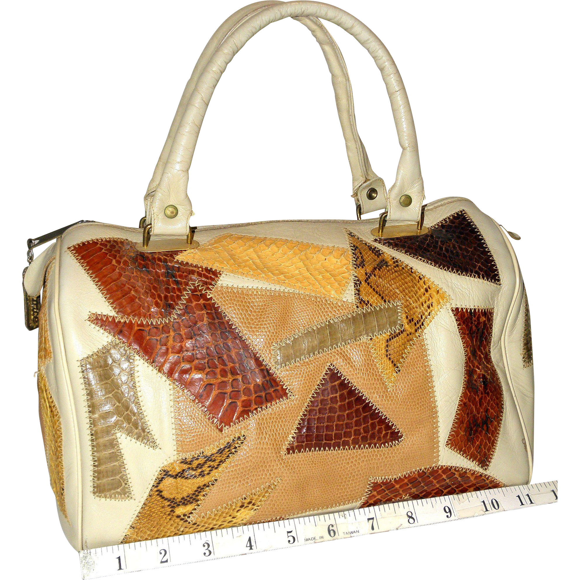 1960's Caprice Patchwork Leather and Reptile Skin Doctor's Satchel