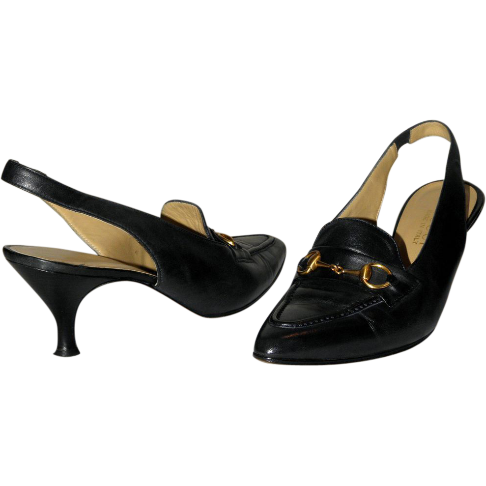 Gucci Horse-bit Slingback Pumps US 8B 38.5 from Italy