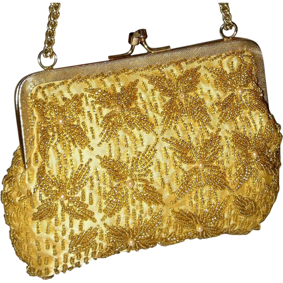 1950's Golden Beaded Framed Convertible Clutch by Walborg