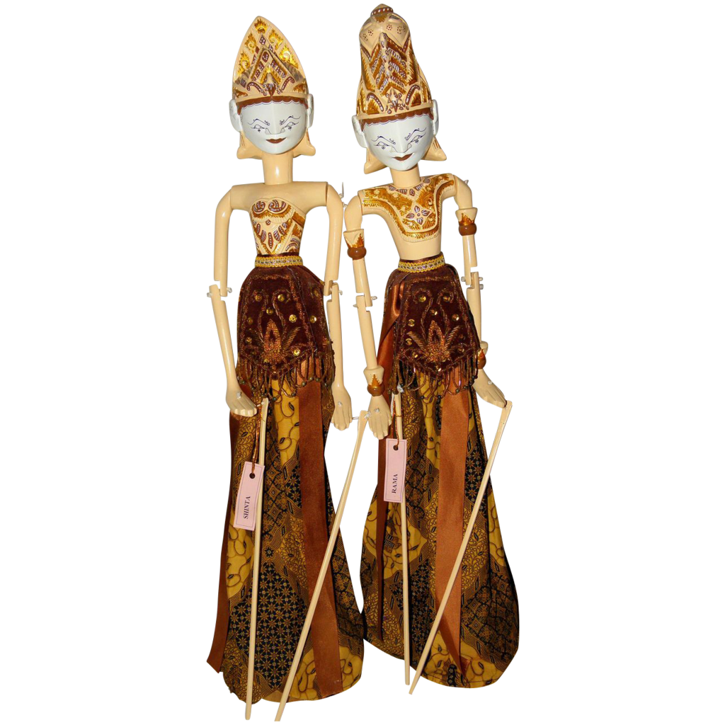 Vintage Rama and Shinta Wayang Golek Puppet Dolls from Indonesia